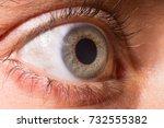 Small photo of Close up on a blue eyes. Iris. Iridology. Soul. Dilated pupil