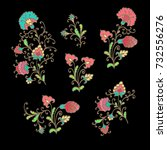 set of decorative floral... | Shutterstock .eps vector #732556276