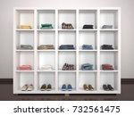 white open shelves with things. ... | Shutterstock . vector #732561475