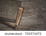 vintage old books on the old... | Shutterstock . vector #732571072