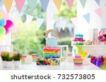 kids birthday party decoration...   Shutterstock . vector #732573805