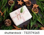 christmas gift on the antique... | Shutterstock . vector #732574165