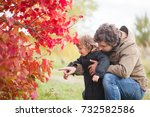 father and daughter walking... | Shutterstock . vector #732582586