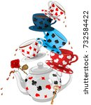 wonderland mad tea party pyramid | Shutterstock .eps vector #732584422