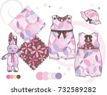 girls' fashion illustration.... | Shutterstock .eps vector #732589282