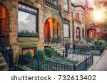 chicago row house neighborhood... | Shutterstock . vector #732613402