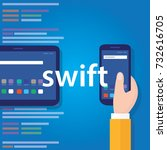 swift mobile application... | Shutterstock .eps vector #732616705