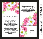 invitation with floral... | Shutterstock . vector #732637048