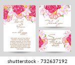 invitation with floral... | Shutterstock . vector #732637192