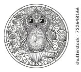 mandala. owl. zentangle. hand... | Shutterstock . vector #732648166