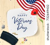 veterans day greeting card. top ... | Shutterstock .eps vector #732649432