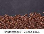 coffe beans on black slate... | Shutterstock . vector #732651568
