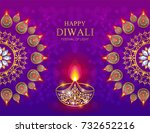 happy diwali festival card with ... | Shutterstock .eps vector #732652216
