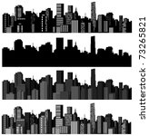 set of vector cities silhouette | Shutterstock .eps vector #73265821