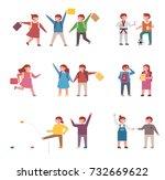 elementary school students... | Shutterstock .eps vector #732669622
