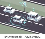 machine car controlled on road... | Shutterstock .eps vector #732669802