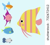 exotic tropical fish race... | Shutterstock .eps vector #732672412