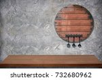 wooden empty top table with... | Shutterstock . vector #732680962