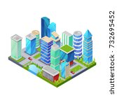 modern downtown isometric 3d... | Shutterstock .eps vector #732695452