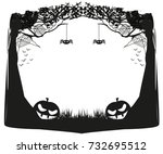 halloween night   black and... | Shutterstock . vector #732695512