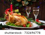 baked turkey  chicken . the... | Shutterstock . vector #732696778