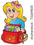 cartoon girl with school bag  ... | Shutterstock .eps vector #73269835