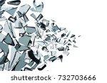 broken glass explosion on white ...   Shutterstock . vector #732703666