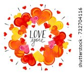 hand drawn hearts on white...   Shutterstock .eps vector #732704116