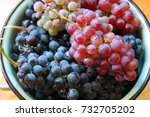 red and white grapes on wooden... | Shutterstock . vector #732705202