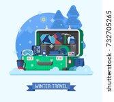 winter suitcase full of... | Shutterstock .eps vector #732705265