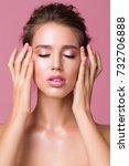 sensual portrait over pink... | Shutterstock . vector #732706888
