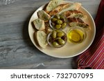 olives with fresh bread and... | Shutterstock . vector #732707095