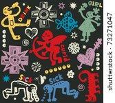 crazy doodle set  hand drawn... | Shutterstock .eps vector #73271047
