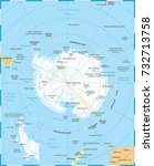 antarctic region map   detailed ... | Shutterstock .eps vector #732713758