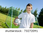 boy with a football in hand | Shutterstock . vector #73272091