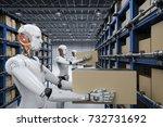 3d rendering humanoid robots... | Shutterstock . vector #732731692