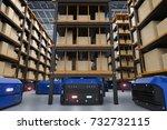 3d rendering warehouse robot... | Shutterstock . vector #732732115