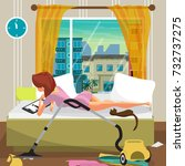 young lazy woman lies on the... | Shutterstock .eps vector #732737275