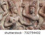 lanna art stucco walls in...   Shutterstock . vector #732754432