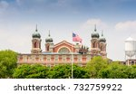 ellis island in new york harbor. | Shutterstock . vector #732759922