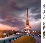 eiffel tower on a sunset half... | Shutterstock . vector #732762256