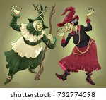 couple of witches for halloween.... | Shutterstock .eps vector #732774598