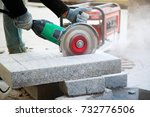 close up of worker cutting... | Shutterstock . vector #732776506