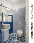 interior of a small blue toilet | Shutterstock . vector #732778222