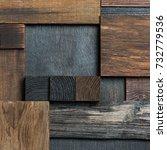 abstract dark wood block... | Shutterstock . vector #732779536