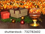 glass with cognac or whiskey ...   Shutterstock . vector #732782602
