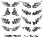 set of vintage wings...   Shutterstock .eps vector #732782902