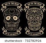day of the dead. dia de los... | Shutterstock .eps vector #732782926