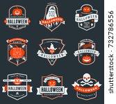 set of happy halloween badges... | Shutterstock .eps vector #732786556