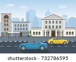 urban landscape and city life.... | Shutterstock .eps vector #732786595
